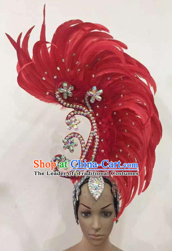 Deluxe Red Feather Customized Samba Dance Hair Accessories Brazilian Rio Carnival Headdress for Women