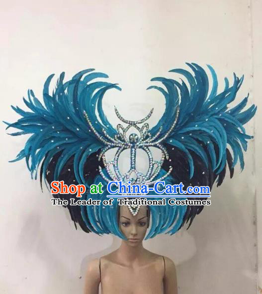 Customized Deluxe Blue Feather Samba Dance Hair Accessories Brazilian Rio Carnival Headdress for Women