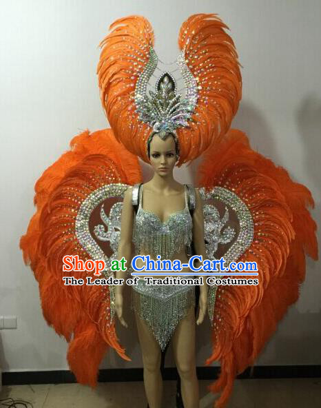 Custom-made Catwalks Props Brazilian Rio Carnival Samba Dance Orange Feather Wings and Headdress for Women