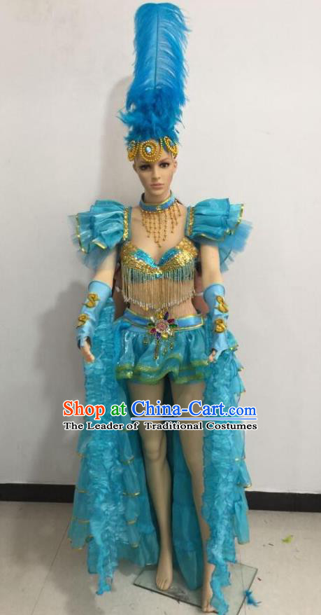 Brazilian Rio Carnival Samba Dance Costumes Catwalks Swimsuit and Blue Feather Headdress for Women