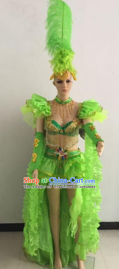 Brazilian Rio Carnival Samba Dance Costumes Catwalks Swimsuit and Green Feather Headdress for Women