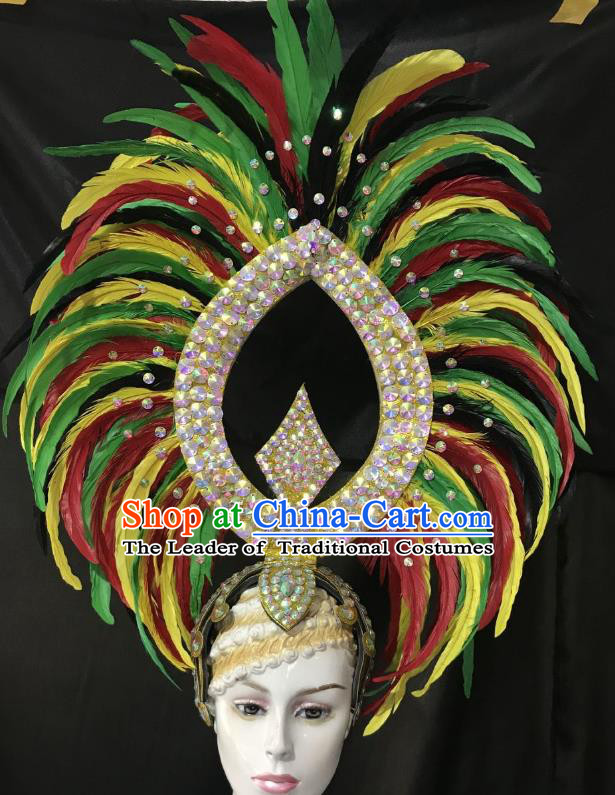 Professional Samba Dance Hair Accessories Brazilian Rio Carnival Colorful Feather Headdress for Women