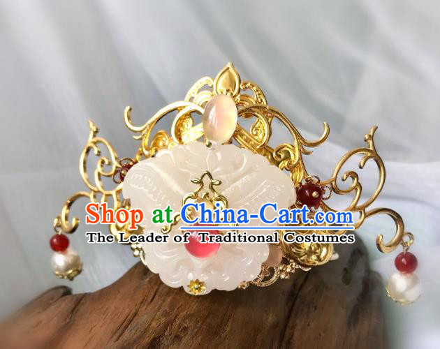 Chinese Traditional Hair Accessories Ancient Hanfu Jade Tuinga Hairpins for Women