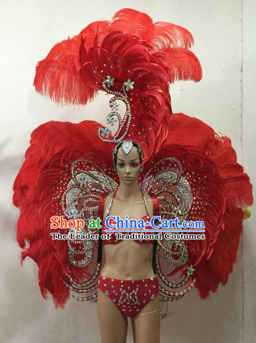 Brazilian Rio Carnival Samba Dance Costumes Catwalks Red Feather Wings Swimsuit and Headdress for Women