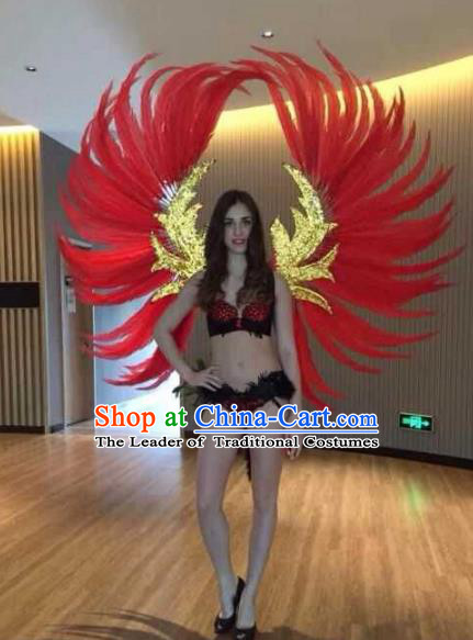 Custom-made Catwalks Props Brazilian Rio Carnival Samba Dance Red Feather Deluxe Wings for Women