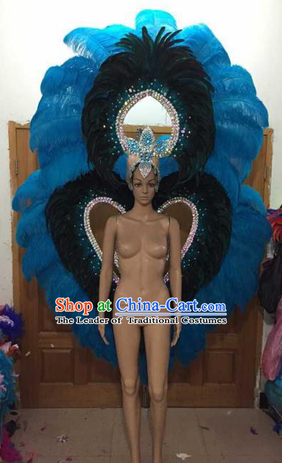 Custom-made Catwalks Props Brazilian Rio Carnival Samba Dance Blue Feather Deluxe Wings and Headdress for Women