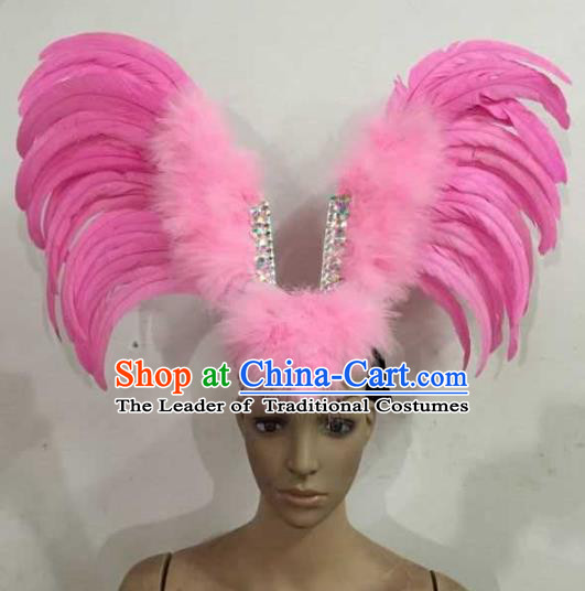 Professional Halloween Samba Dance Pink Feather Hair Accessories Brazilian Rio Carnival Headdress for Women