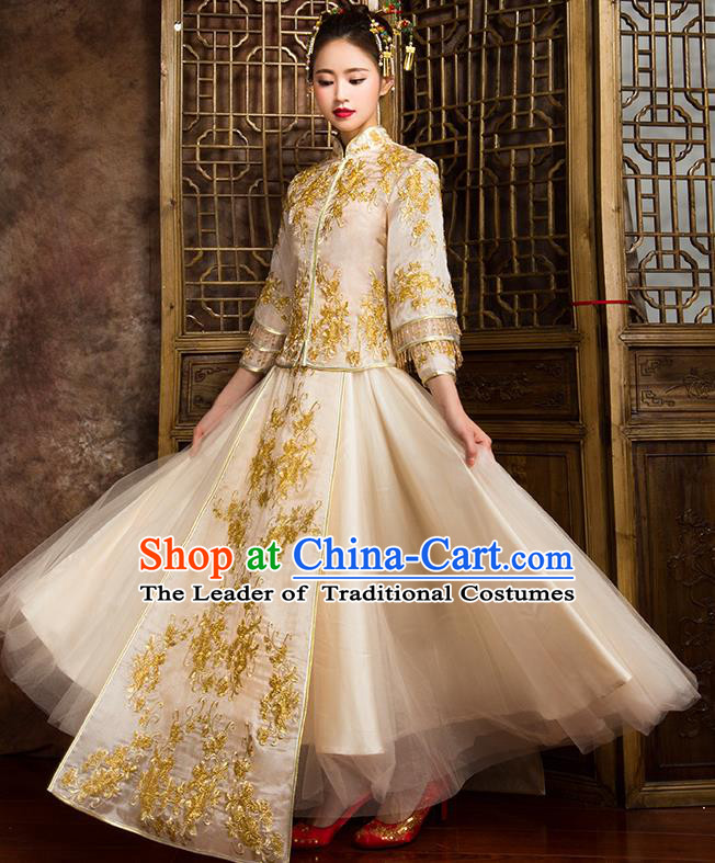 Traditional Chinese Bridal Costumes Ancient Bride Wedding Embroidered Beading Golden XiuHe Suit for Women