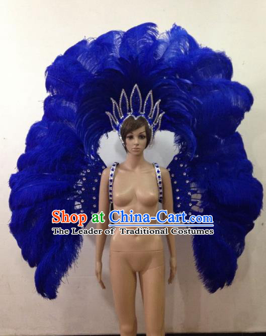 Customized Halloween Catwalks Props Brazilian Rio Carnival Samba Dance Royalblue Feather Deluxe Wings and Headwear for Women