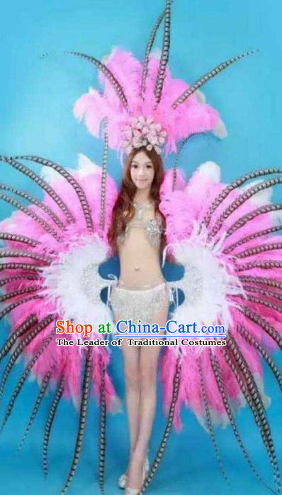 Brazilian Rio Carnival Samba Dance Costumes Catwalks Pink Feather Wings Swimsuit and Headdress for Women