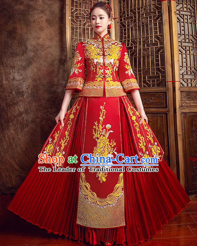 Traditional Chinese Bridal Costumes Ancient Bride Red Toast Clothing Wedding Embroidered Peony XiuHe Suit for Women