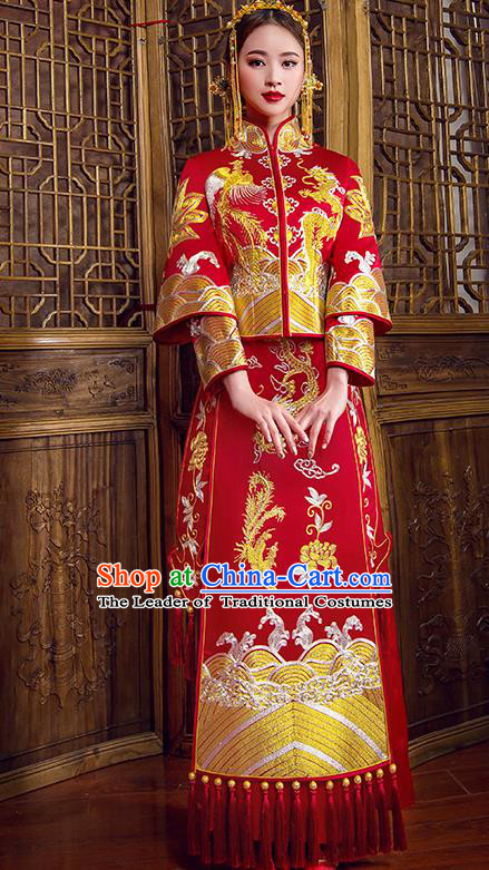 Traditional Chinese Bridal Wedding Costumes Ancient Bride Red Embroidered Dragon Phoenix Longfeng Flown XiuHe Suit for Women