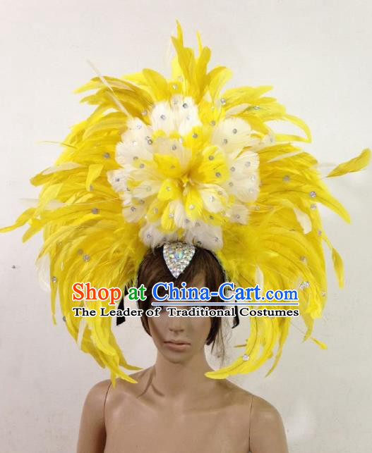Professional Halloween Catwalks Samba Dance Yellow Feather Hair Accessories Brazilian Rio Carnival Headdress for Women