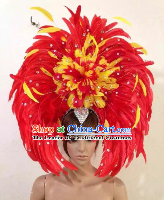 Professional Halloween Catwalks Samba Dance Red Feather Hair Accessories Brazilian Rio Carnival Headdress for Women