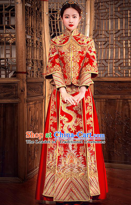 Traditional Chinese Female Wedding Costumes Ancient Embroidered Dragon Diamante Full Dress Red XiuHe Suit for Bride