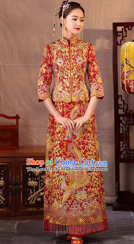 Traditional Chinese Style Female Wedding Costumes Ancient Embroidered Dragon Phoenix Red Full Dress XiuHe Suit for Bride