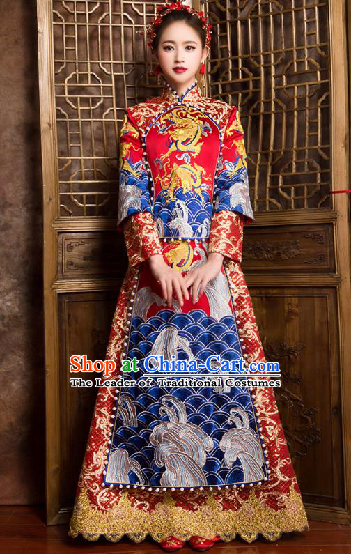 Traditional Chinese Bridal Costumes Ancient Bride Wedding Embroidered Dragons XiuHe Suit for Women