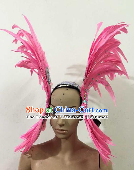 Professional Halloween Catwalks Pink Feather Hair Accessories Brazilian Rio Carnival Samba Dance Headdress for Women