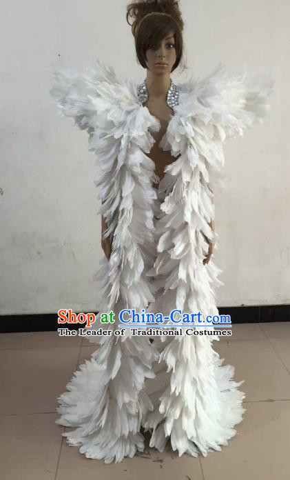 Brazilian Rio Carnival Samba Dance Costumes Catwalks White Feather Trailing Clothing for Women