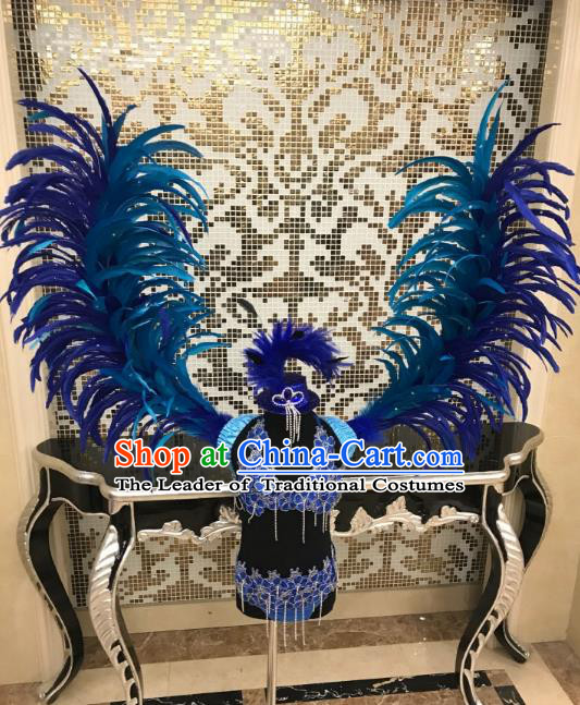 Brazilian Rio Carnival Samba Dance Costumes Catwalks Blue Feather Swimwear and Wings for Kids