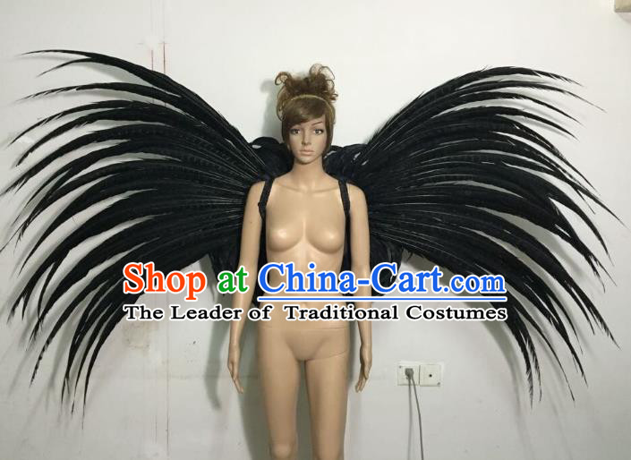 Halloween Catwalks Customized Props Brazilian Rio Carnival Samba Dance Black Feather Wings for Women