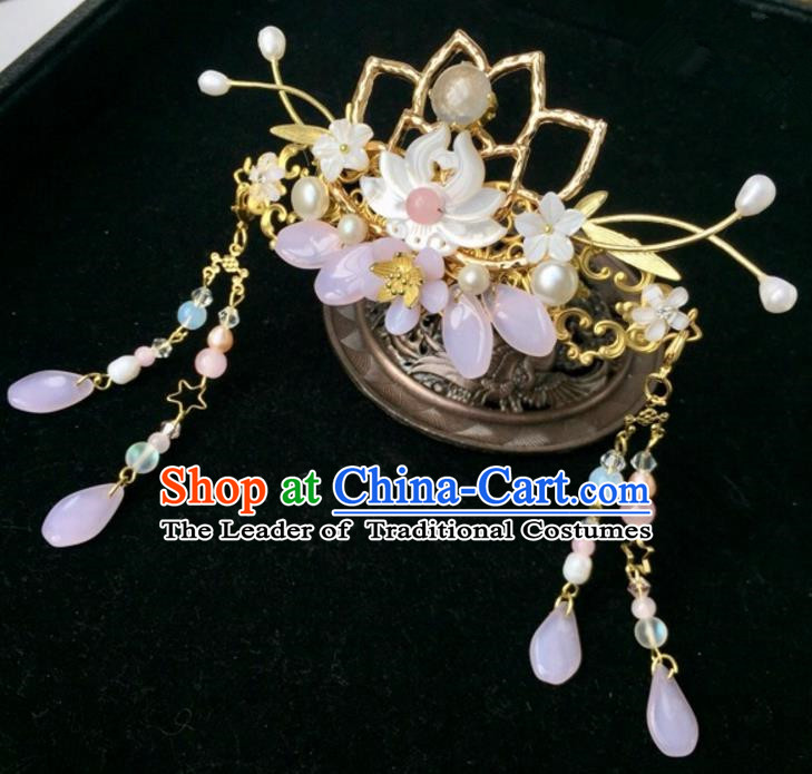 Chinese Traditional Hair Accessories Ancient Hanfu Hairpins Shell Lotus Phoenix Coronet for Women