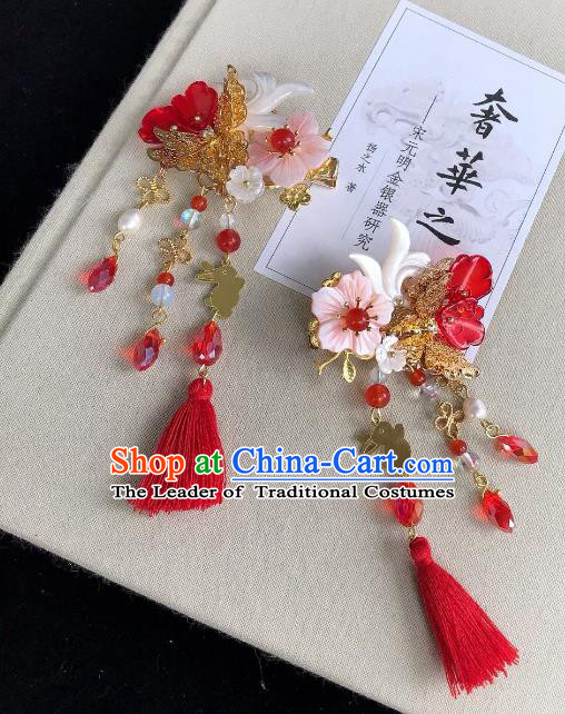 Chinese Traditional Hair Accessories Ancient Hanfu Hairpins Red Tassel Shell Hair Claw for Women
