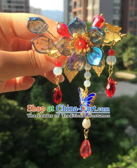 Chinese Traditional Hair Accessories Ancient Hanfu Hairpins Blueing Butterfly Hair Claw for Women