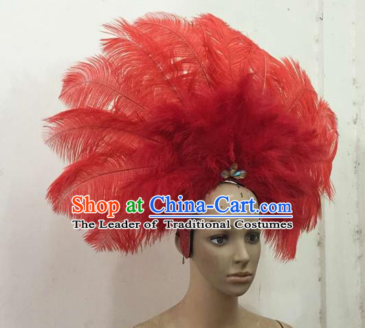 Professional Samba Dance Deluxe Hair Accessories Brazilian Rio Carnival Red Feather Headdress for Women