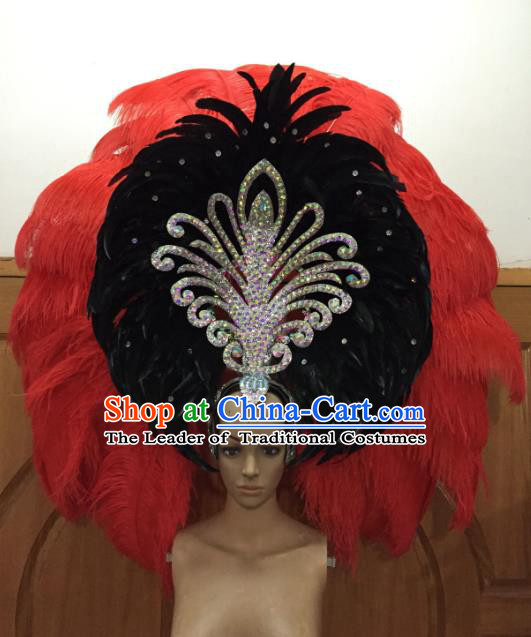 Professional Samba Dance Deluxe Hair Accessories Brazilian Rio Carnival Red and Black Feather Headdress for Women