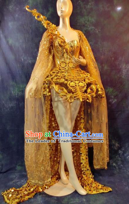 Top Grade Catwalks Golden Dress Costume Stage Performance Model Show Brazilian Carnival Clothing for Women