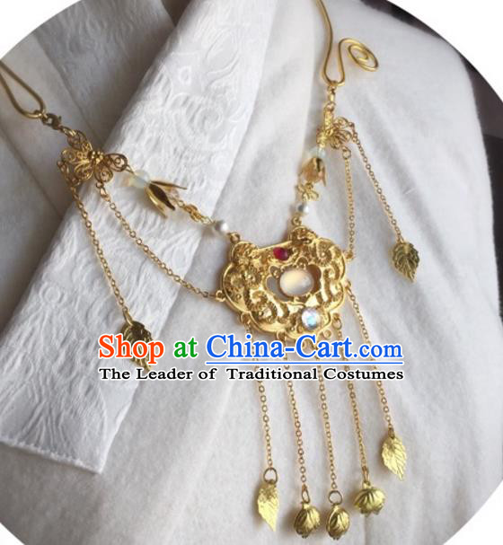Handmade Chinese Traditional Accessories Hanfu Golden Necklace for Women