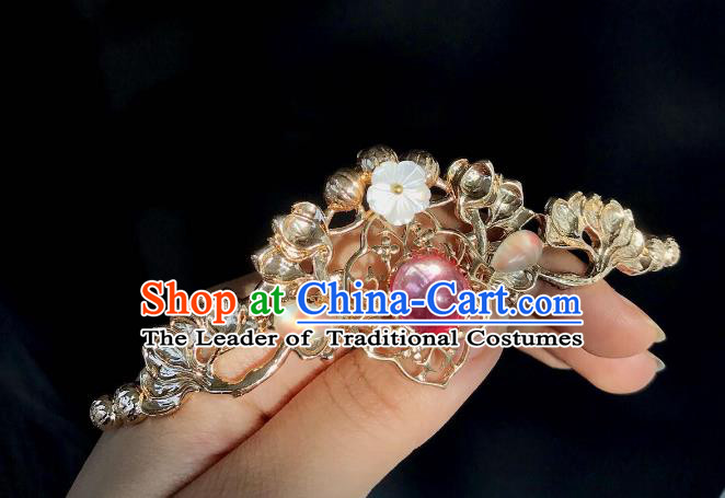 Chinese Traditional Hair Accessories Ancient Hanfu Golden Hair Stick Hairpins for Women