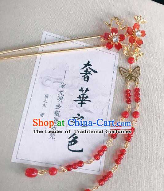 Chinese Traditional Hair Accessories Ancient Hanfu Hairpins Red Beads Tassel Hair Clip for Women
