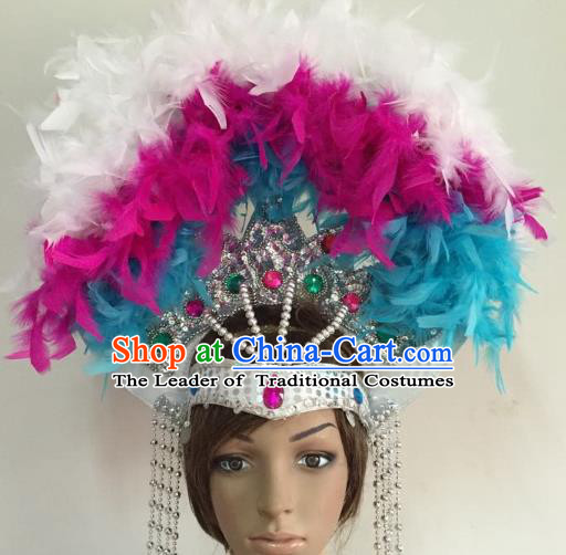 Professional Halloween Catwalks Feather Hair Accessories Brazilian Rio Carnival Samba Dance Hats for Women