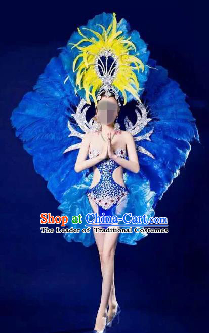 Brazilian Rio Carnival Samba Dance Costumes Catwalks Blue Feather Swimwear and Wings for Women