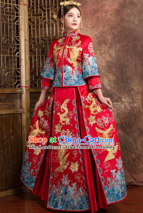 Chinese Traditional Wedding Dress Ancient Bride Embroidered Dragon Phoenix Diamante Xiuhe Suit for Women