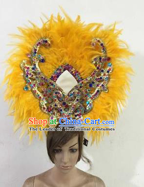Professional Halloween Catwalks Hair Accessories Brazilian Rio Carnival Samba Dance Yellow Feather Headwear for Women