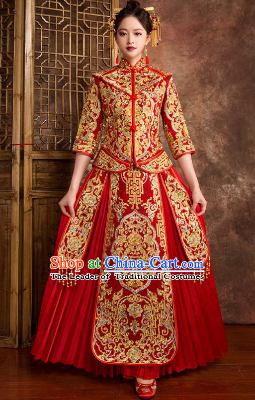 Chinese Traditional Wedding Costumes Ancient Bride Embroidered Diamante Red Xiuhe Suit for Women