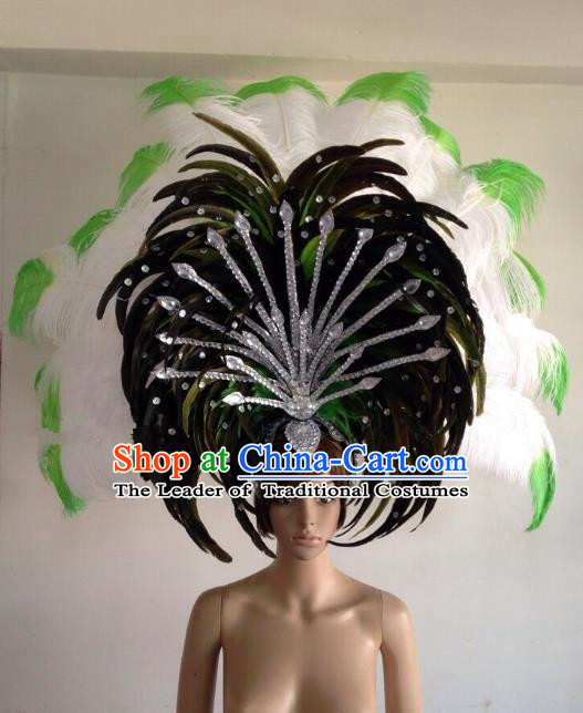 Professional Halloween Catwalks Hair Accessories Brazilian Rio Carnival Samba Dance Deluxe Feather Headwear for Women