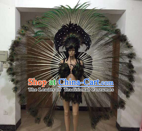 Brazilian Rio Carnival Samba Dance Costumes Catwalks Peacock Feather Swimwear and Wings for Women