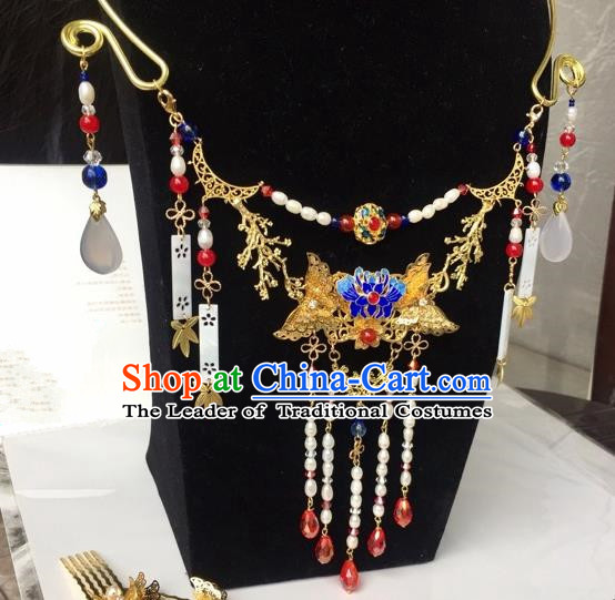 Handmade Chinese Traditional Accessories Hanfu Blueing Butterfly Tassel Necklace for Women