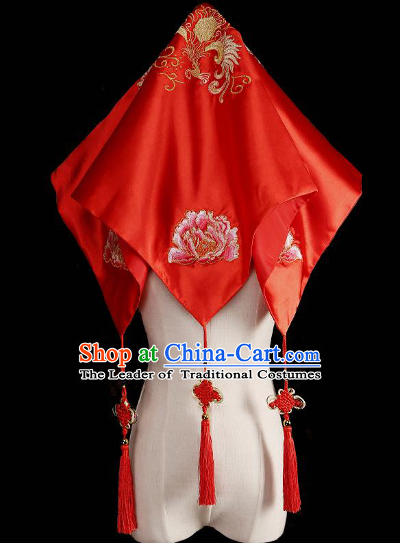 Traditional Chinese Wedding Hair Accessories Ancient Embroidered Red Bridal Veil for Bride