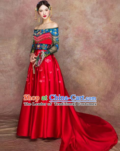 Traditional Chinese Wedding Costumes Embroidered Red Full Dress Ancient Bottom Drawer for Bride
