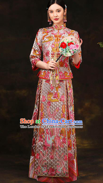 Traditional Chinese Style Female Wedding Costumes Ancient Embroidered Bottom Drawer XiuHe Suit for Bride