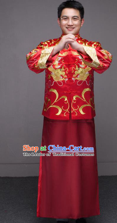 Traditional Ancient Chinese Wedding Red Costumes Bridegroom Embroidered Tang Suit for Men
