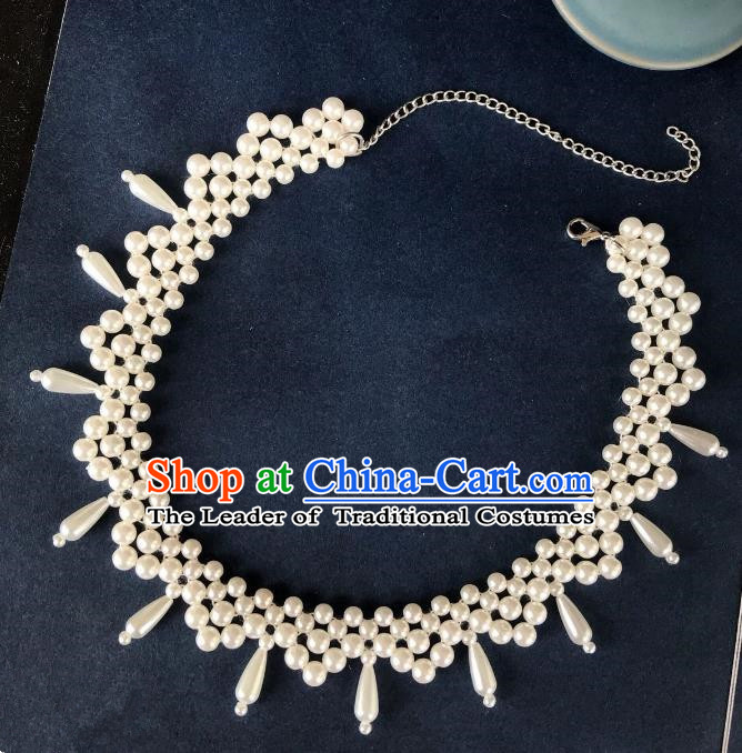 Handmade Chinese Traditional Accessories Hanfu Pearls Necklace for Women