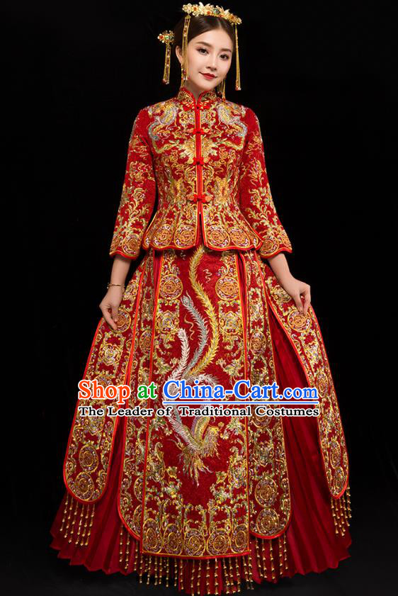 Traditional Chinese XiuHe Suit Wedding Costumes Embroidered Phoenix Red Full Dress Ancient Bottom Drawer for Bride