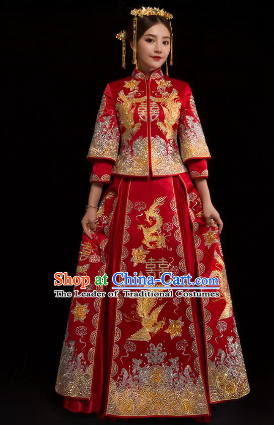Traditional Chinese XiuHe Suit Wedding Costumes Embroidered Dragon Phoenix Full Dress Ancient Bottom Drawer for Bride