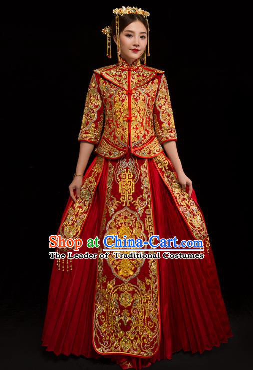 Traditional Chinese XiuHe Suit Wedding Costumes Embroidered Full Dress Ancient Bottom Drawer for Bride